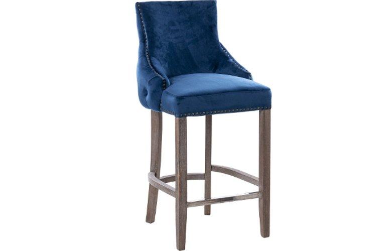 Taburete bar Tasmania azul terciopelo