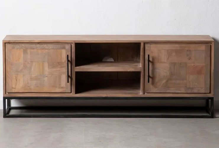 mueble TV de madera natural