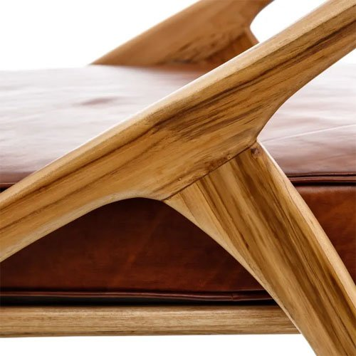 Sillón madera teka y piel