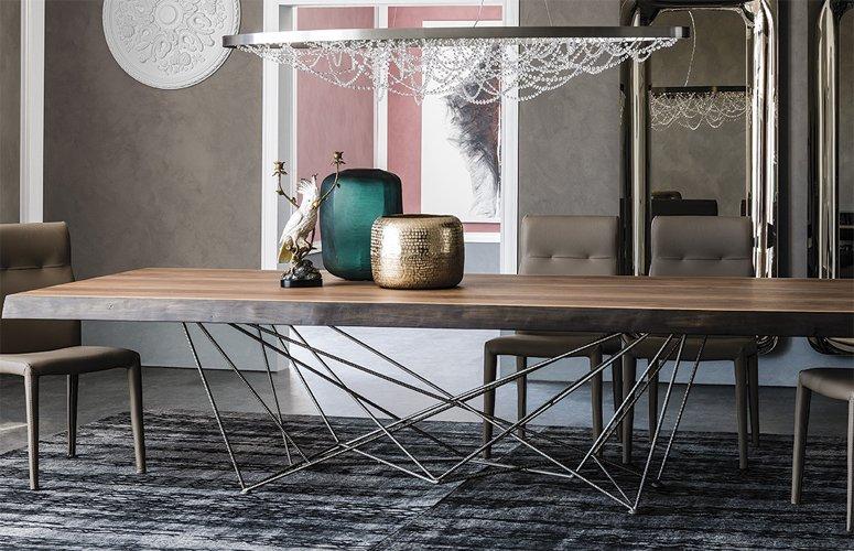 Mesa de comedor rectangular Gordon Deep Wood Cattelan Italia