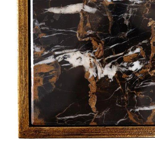 Consola metal- mármol oro y negro