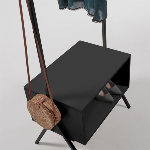 Perchero de acero negro con cajón Bently
