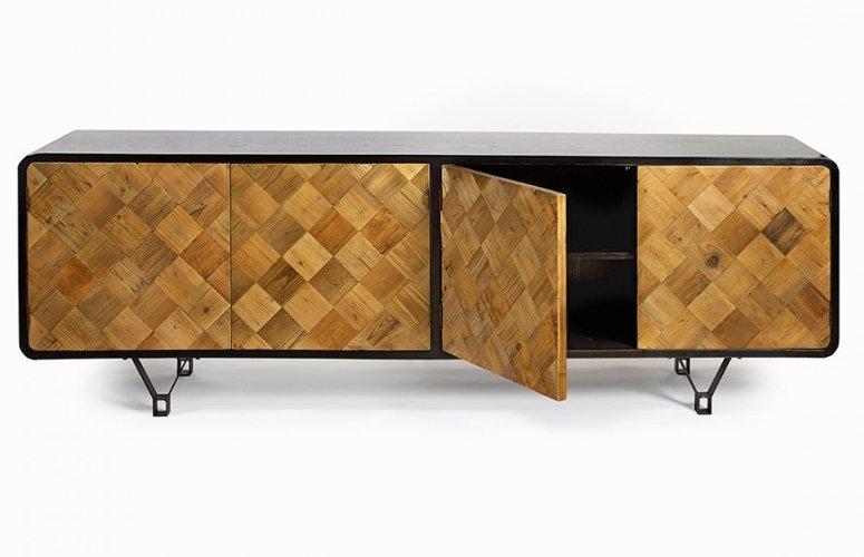 Aparador madera formas geométricas y encimera negra