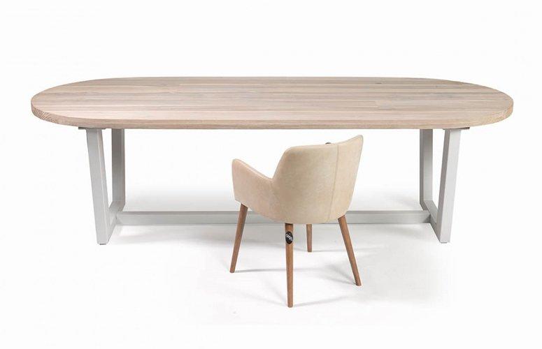 Mesa de exterior ovalada madera teca y metal