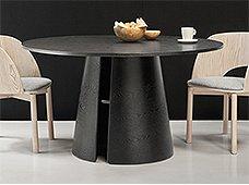 Mesa de comedor redonda de diseño negra Cep Lig. defectos