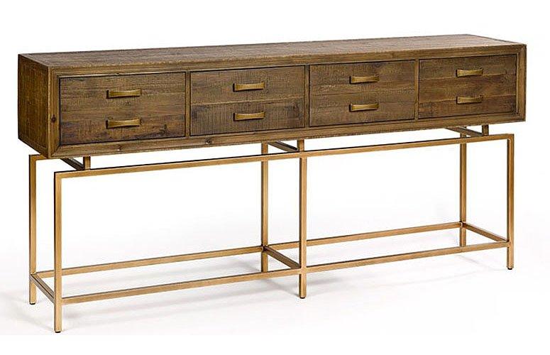 Consola madera reciclada de pino y metal dorado