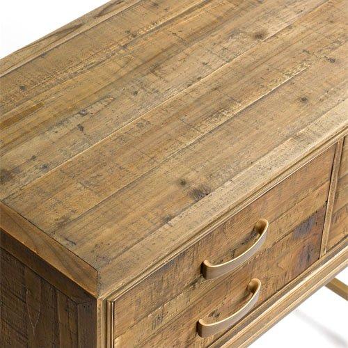 Consola madera envejecida y metal dorado