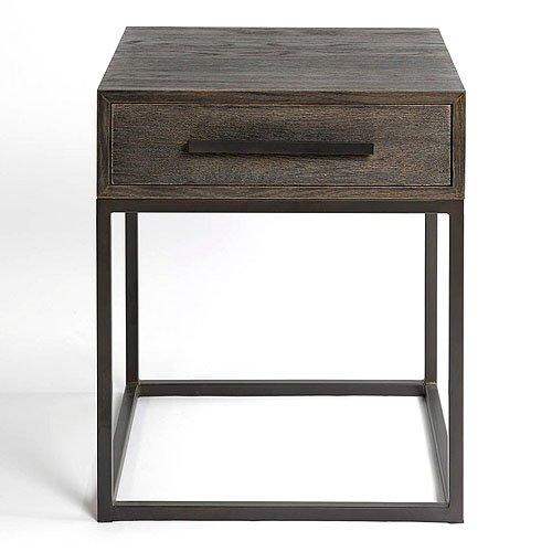 Mesa de noche madera roble grisáceo y metal