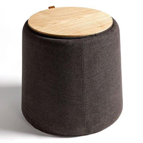 Puf tapizado gris y madera natural