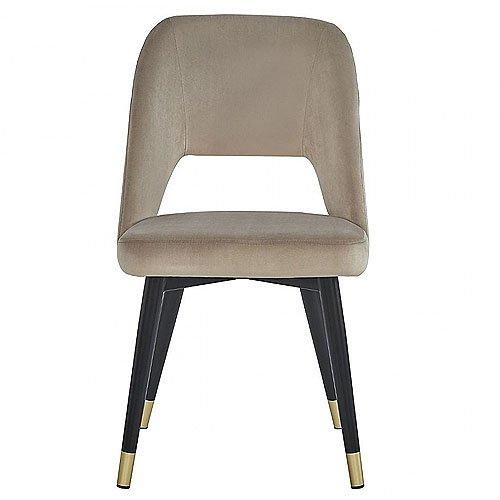 Silla con agujero terciopelo beige y pata metal negro