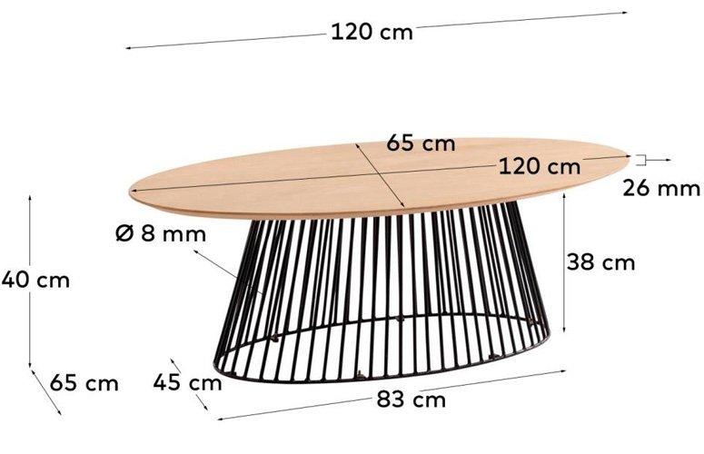 Mesa centro Leska madera maciza negro