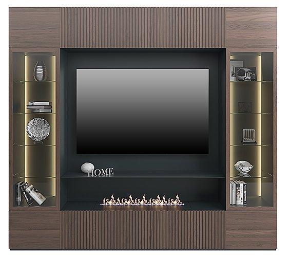 Mural de salón para tv con chimenea eléctrica y vitrina