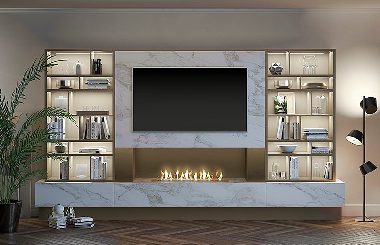 Mueble de salón para tv con chimenea eléctrica  Padua