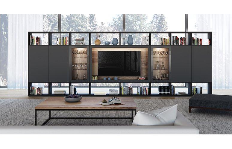 Mueble de salón cpara tv con vitrina