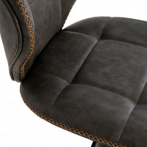 Taburete tapizado piel gris Piper
