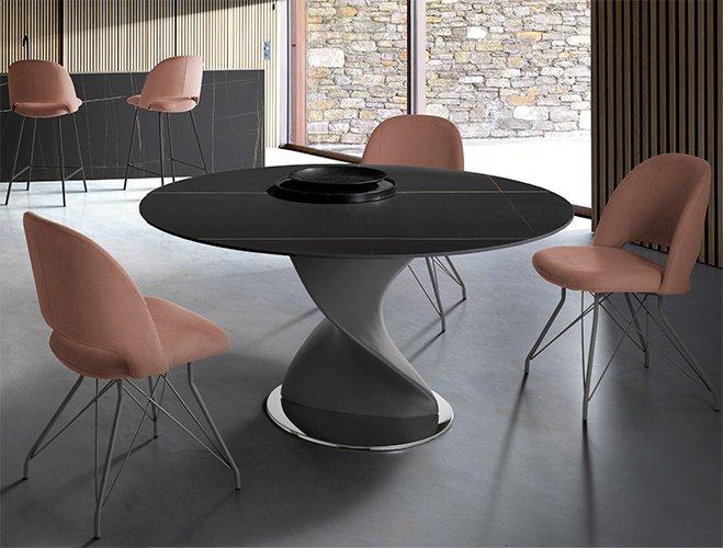 Mesa de comedor redonda cristal Vanya