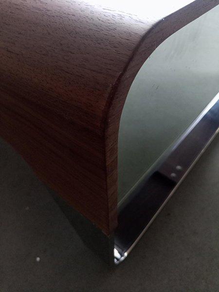 Mesa de centro nogal y acero cajón espejo  Lig.defectos