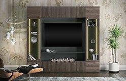 Mueble de salón para tv con chimenea eléctrica y vitrina Avalon