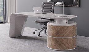 Mesa de escritorio nogal y blanco 2 puertas Kaniver