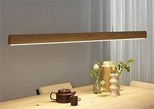 Lámpara de techo columna de madera Led