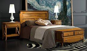Dormitorio colonial miel Mediterráneo
