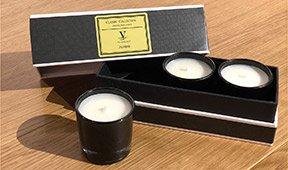 Set de 3 velas vasos de cristal