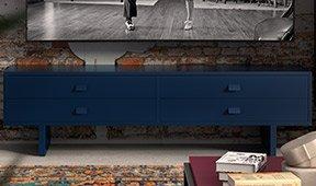 Mesa de televisión 4 cajones industrial Loft Fusion