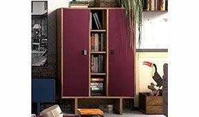 Librería 2 puertas industrial Loft Fusion