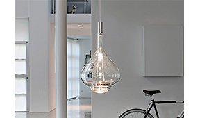 Lámpara de suspensión Sky Fall grande en cristal transparent
