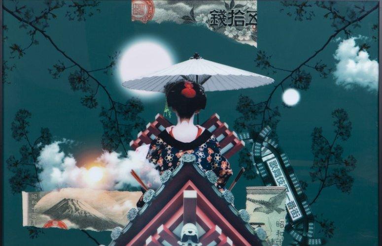 Cuadro Geisha multicolor