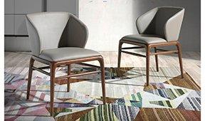 Silla moderna tapizada y nogal Cosoleto