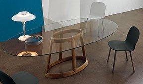 Mesa de comedor ovalada cristal Greeny Bonaldo