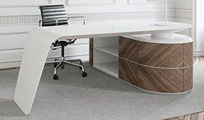 Mesa de escritorio nogal y blanco 4 puertas Kaniver
