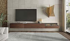 Mueble de tv Treviso con chimenea eléctrica Arquitect  by Bodonni