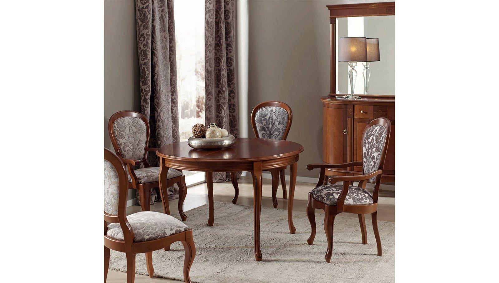 Mesa de comedor redonda extensible clásica Ilora