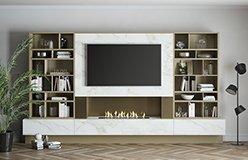 Mueble de salón para tv con chimenea eléctrica Padua con luz de led
