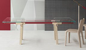 Mesa de comedor fresno natural Tracks Bonaldo