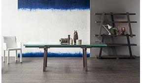 Mesa de comedor gris antracita Tracks Bonaldo