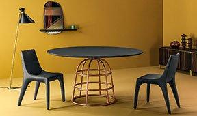 Mesa de comedor redonda roble Mass Table Bonaldo