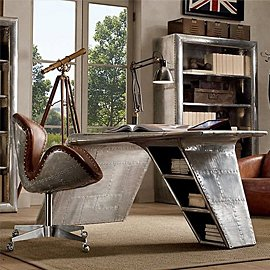Muebles hechos de piezas de aviones clásicos