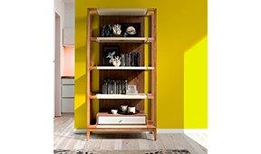 Librería Diseño italiano nogal y piel Trento