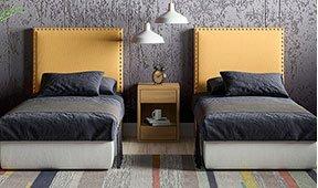 Cabecero tapizado para colchón de 90 Savage mostaza