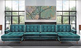 Sofá con doble chaise longue retro Sterling Cooper