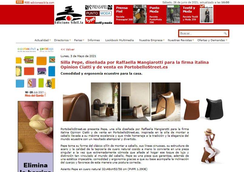 Silla Pepe, diseñada por Raffaella Mangiarotti para la firma italina Opinion Ciatti