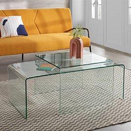 Muebles de cristal transparente