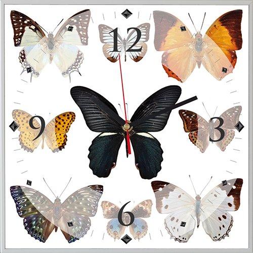 Reloj cuadrado mariposas