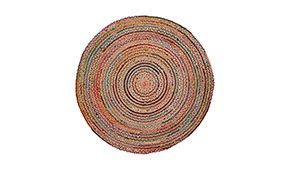 Alfombra Saht en  yute natural combinada con algodón multicolor