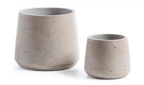 Set 2 maceteros cemento Low gris
