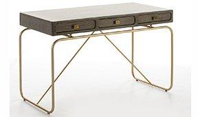 Mesa de escritorio 3 cajones gris y dorado Tripier
