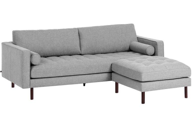 Sofá Debra chaise loungue gris claro